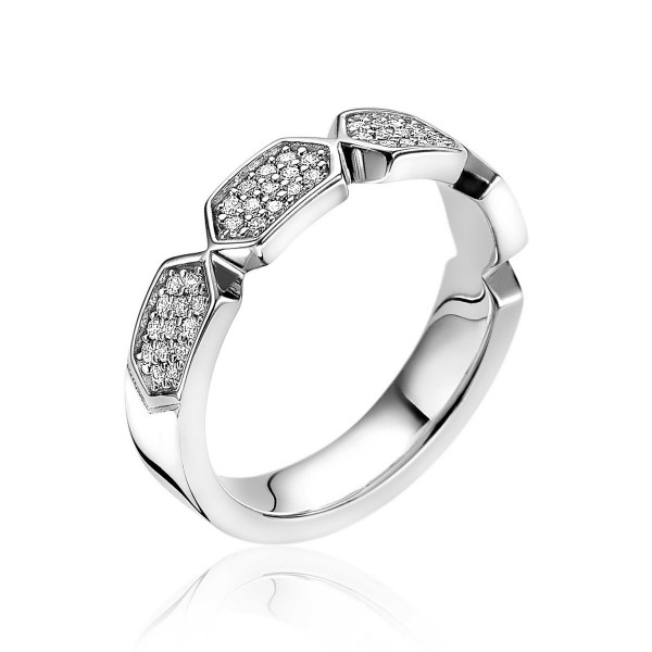 Zinzi Ring Zeshoek ZIR1788-56 Zilver Zirkonia