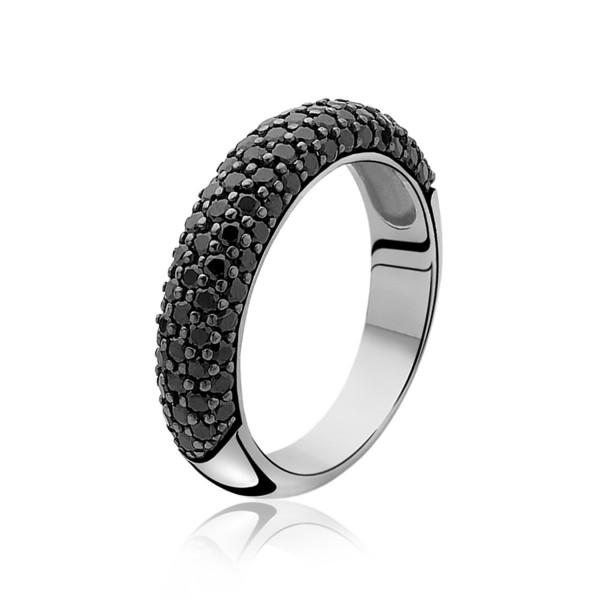 Zinzi Ring Dames ZIR633-54 Zilver Zwart Zirkonia