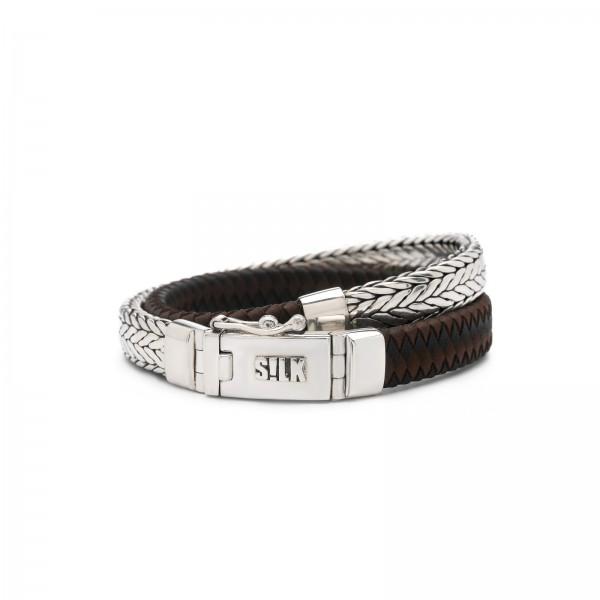 Silk armband 362BBR.20 zwart bruin zilver 20cm