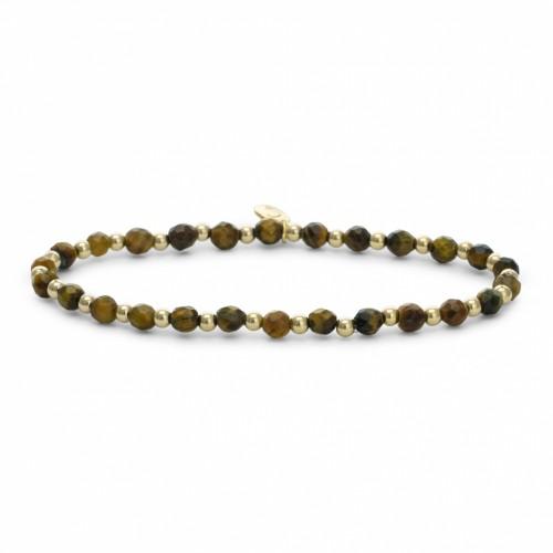Sparkling Jewels Additional Damesarmband SBG-GEM09-3mm-MIX Tijgeroog Verguld Zilver