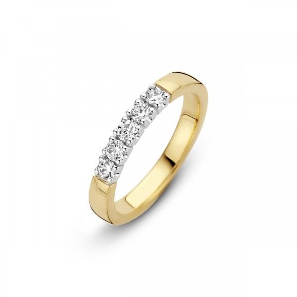 Briljant - Memoire Gouden Damesring 5x0,05crt Diamant