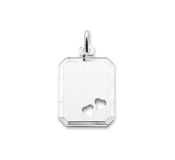 Graveerhanger Rechthoek 18x14mm 2 hartjes zilver