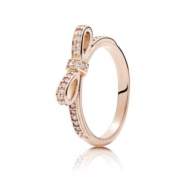 Pandora Ring Rosé 180906cz-50 Zilver Verguld met Strik