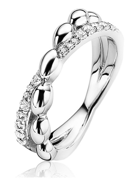 Zinzi Cross-Over Ring Druppel Dames ZIR1676-56 Zilver Zirkonia