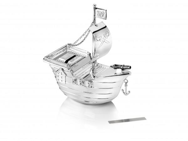 Zilverstad Spaarpot Piratenboot Verzilverd