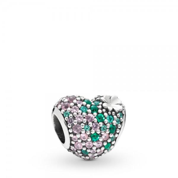 Pandora Heart and Clover Bedel Dames 797869NRGMX Zilver Kristal