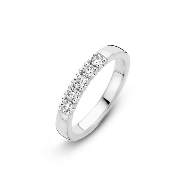 Briljant - Memoire Witgouden Damesring 5x0,07crt Diamant