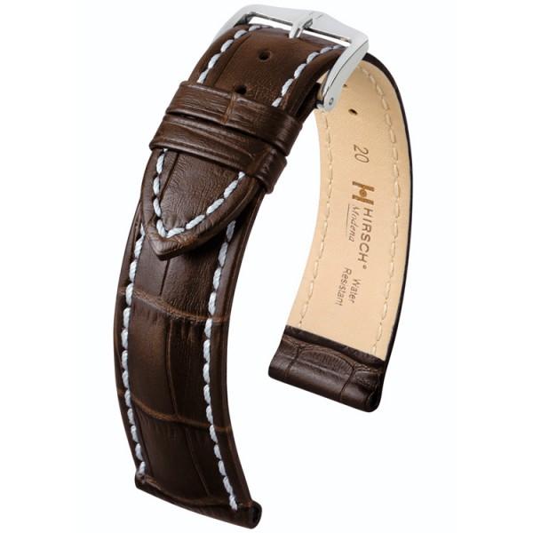 Hirsch Modena Horlogeband 18mm Donkerbruin