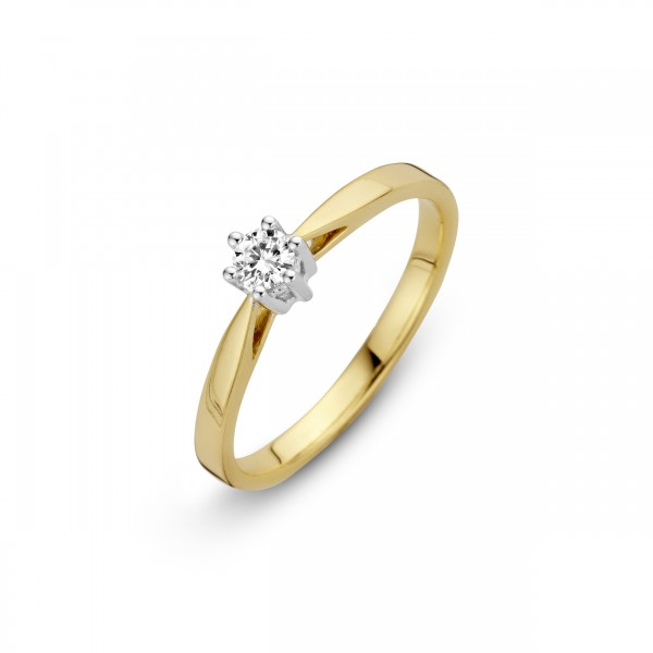 Briljant - Classico Gouden Damesring 0,18crt Diamant