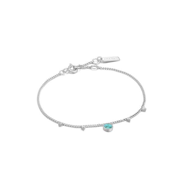 Ania Haie - Turquoise Drop Disc Armband B022-03H Zilverkleurig