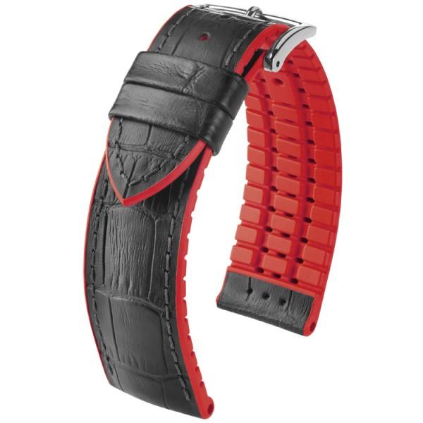 Hirsch horlogeband Andy L 20mm Zwart met rood accent