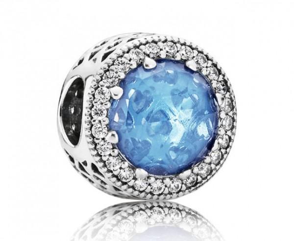 Pandora Moments Radiant Hearts Bedel Dames 791725NBS Zilver Zirkonia Hemelsblauw