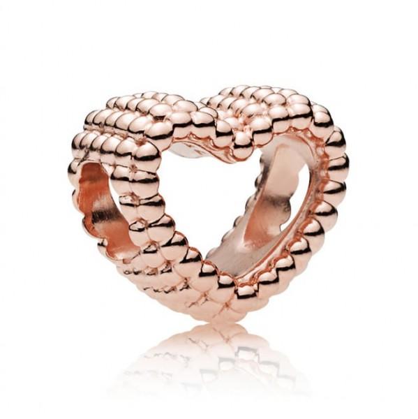 Pandora Bedel Beaded Heart Rosé 787516 Zilver