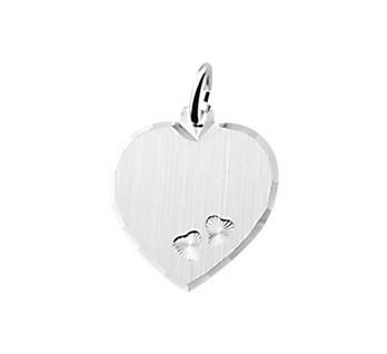 Graveerhartje 19x17cm Zilver met twee hartjes