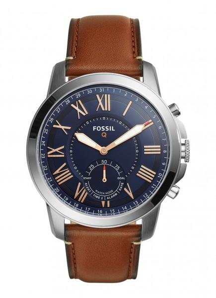 Fossil Q Grant Hybrid Smartwatch Heren FTW1122 Zilverkleurig Blauw
