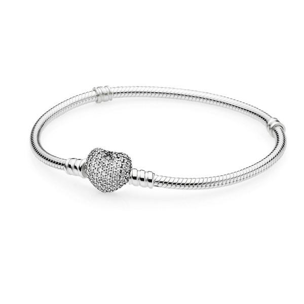 Pandora Pave Heart Armband Dames 590727CZ-19 Zilver Zirkonia