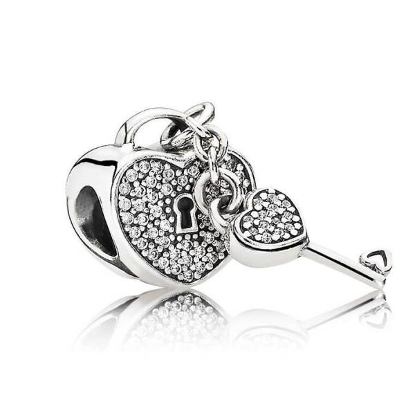 Pandora Lock and Key Heart Bedel Dames 791429CZ Zilver Zirkonia