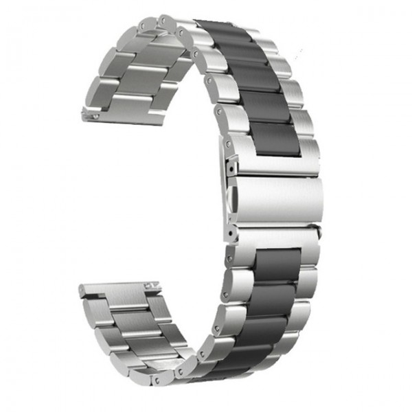 Horlogeband - vouwsluiting met drukknoppen - edelstaal 24mm