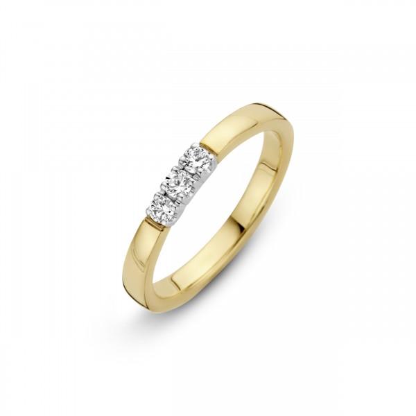 Briljant - Memoire Gouden Damesring 3x0,12crt Diamant