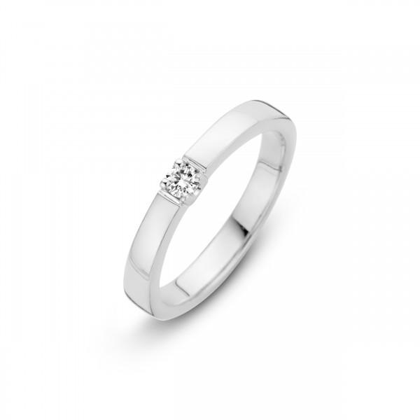 Briljant - Memoire Witgouden Damesring 0,18crt Diamant