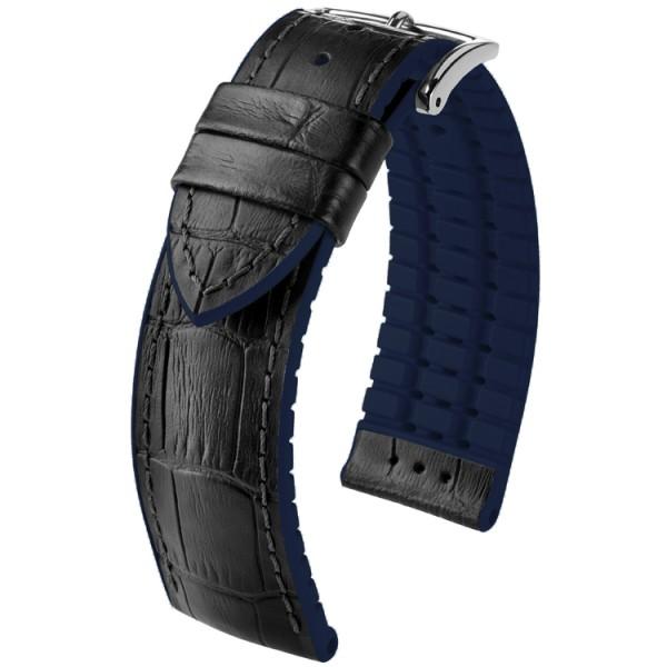 Hirsch horlogeband Andy L 24mm Zwart met blauw accent