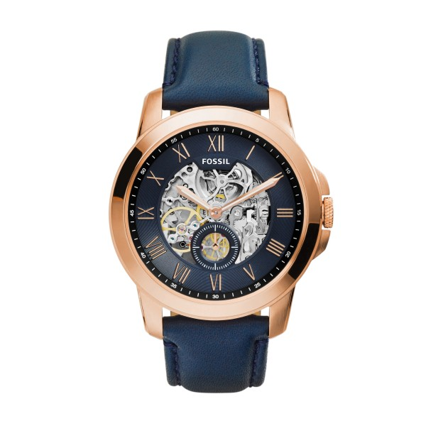 Fossil Grant ME3054 horloge 44mm blauw rosé