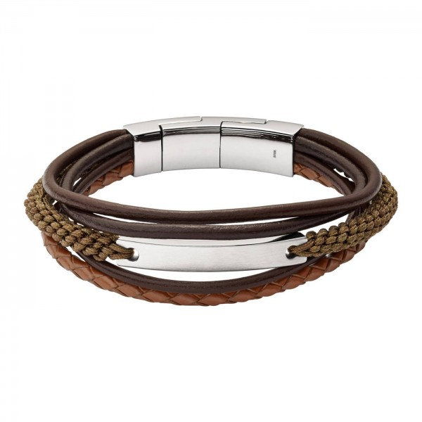 Fossil Men's Vintage Casual Heren Armband JF02703040 Bruin Leer RVS