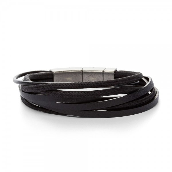 Fossil Mens Vintage Casual Heren Armband JF86182040 Zwart Leer