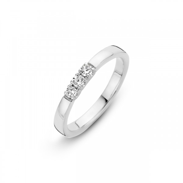 Briljant - Memoire Witgouden Damesring 3x0,05crt Diamant