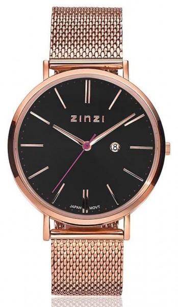 Zinzi Retro Dameshorloge Quartz Analoog ZIW404M Rosékleurig Zwart + Gratis armband